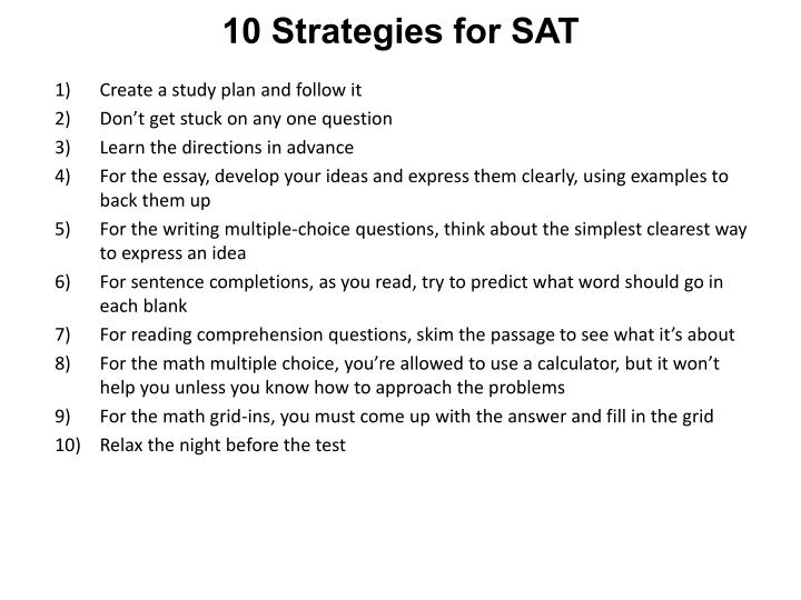 10 Strategies for SAT