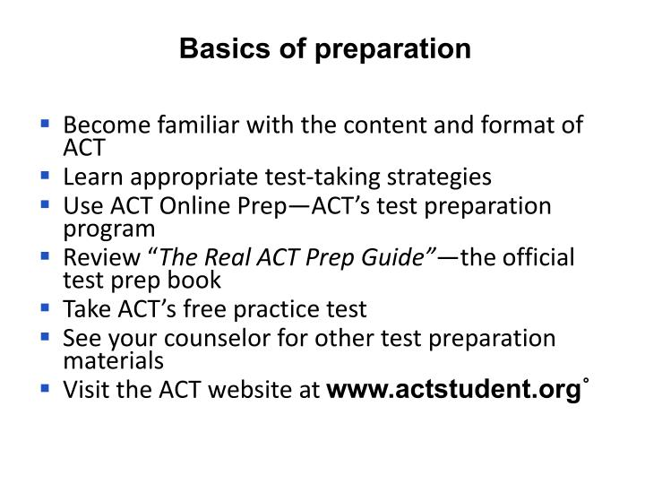 Basics of preparation