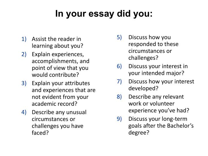 In your essay did you: