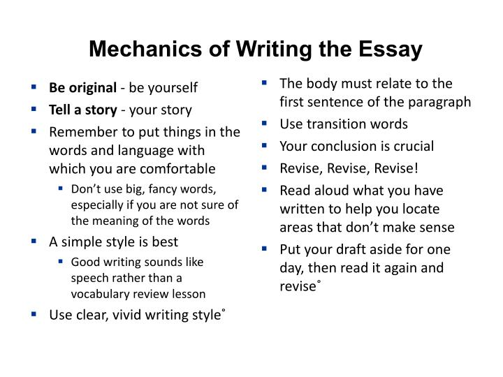 Mechanics of Writing the Essay