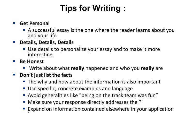 Tips for Writing :