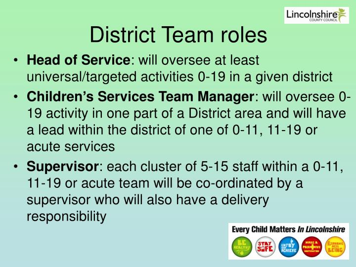 District Team roles
