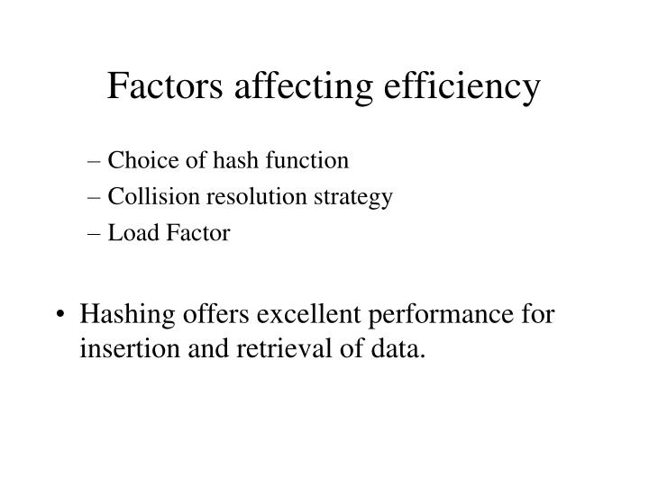 Factors affecting efficiency