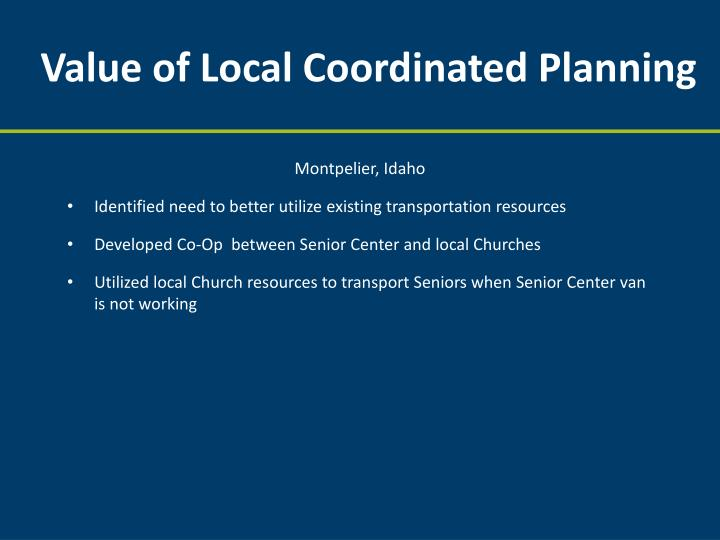Value of Local Coordinated Planning