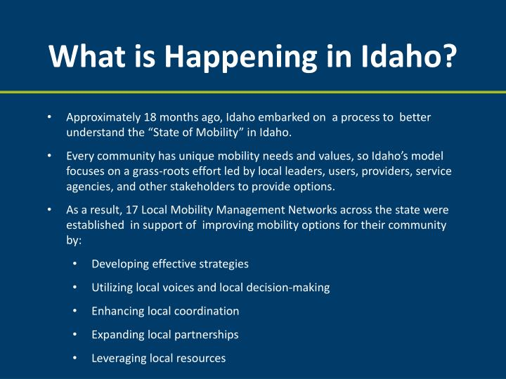What is Happening in Idaho?
