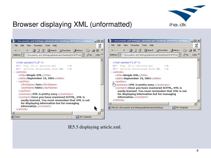 Browser displaying XML (unformatted)