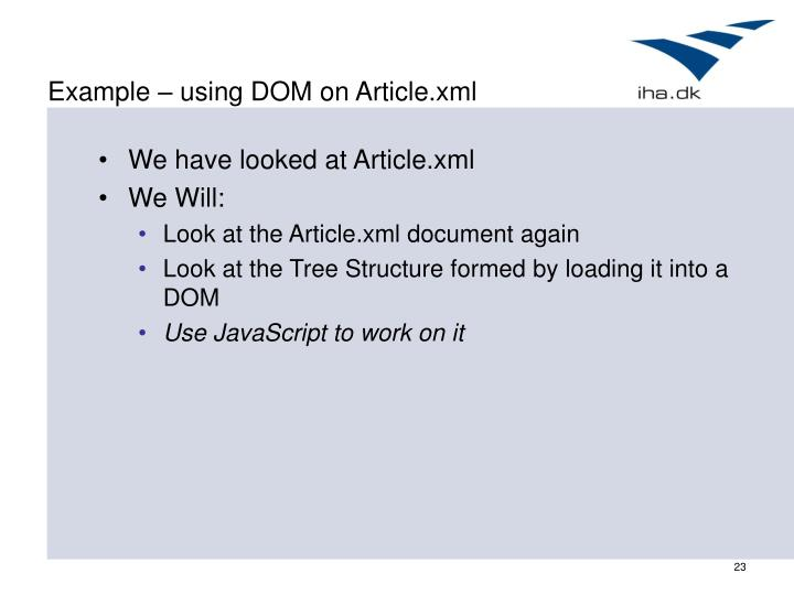 Example – using DOM on Article.xml
