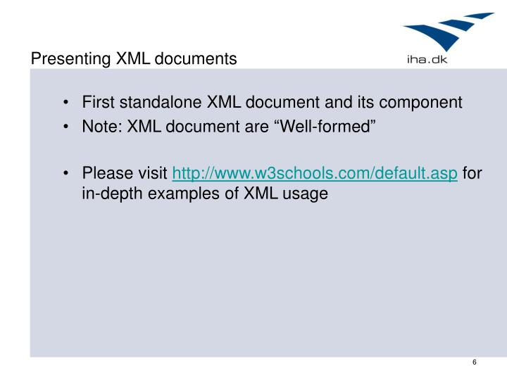 Presenting XML documents
