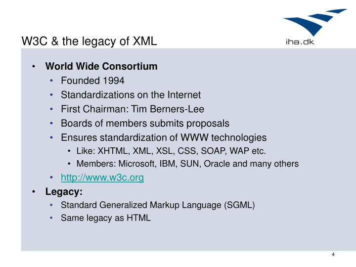 W3C & the legacy of XML