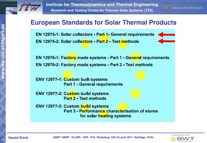 European Standards for Solar Thermal Products