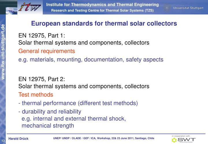 European standards for thermal solar collectors