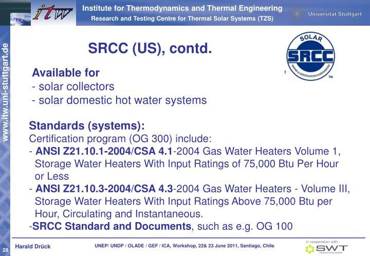 SRCC (US), contd.