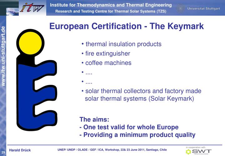 European Certification - The Keymark