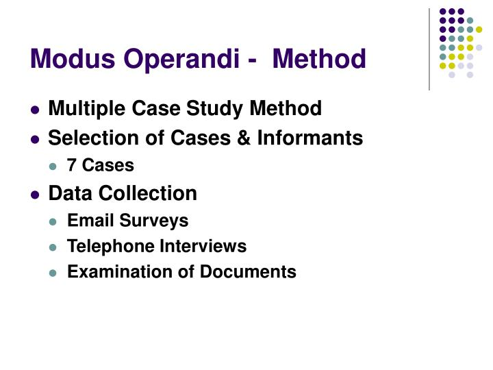 Modus Operandi -  Method