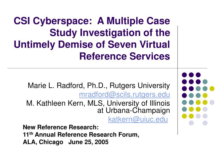CSI Cyberspace:  A Multiple Case Study Investigation of the Untimely Demise of Seven Virtual Referen...