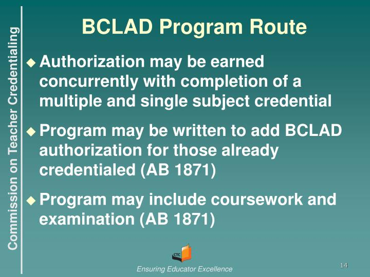 BCLAD Program Route