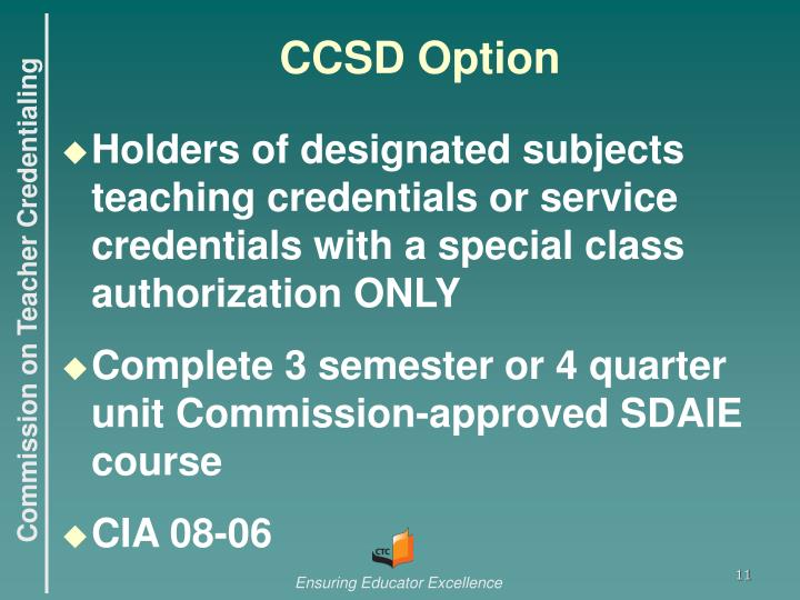CCSD Option