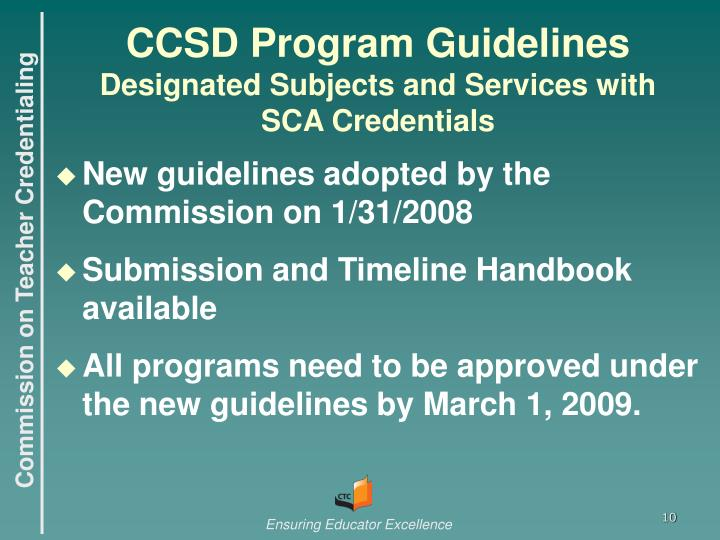 CCSD Program Guidelines