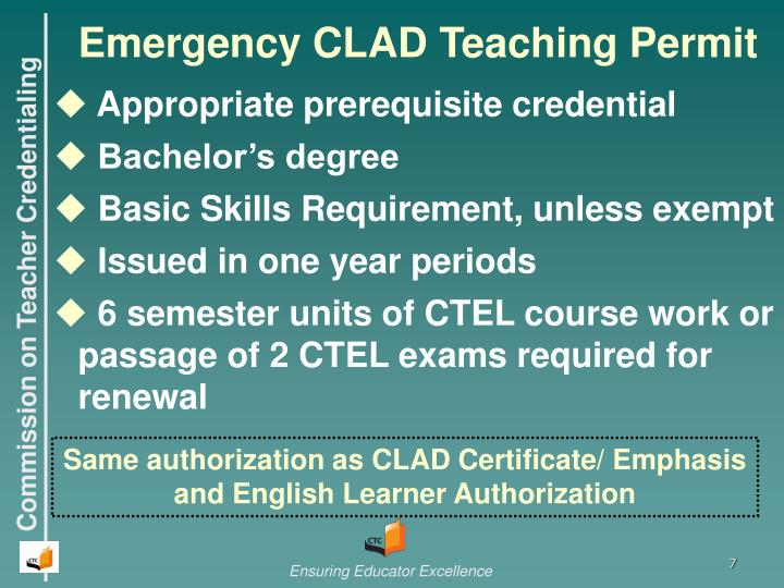 Emergency CLAD Teaching Permit