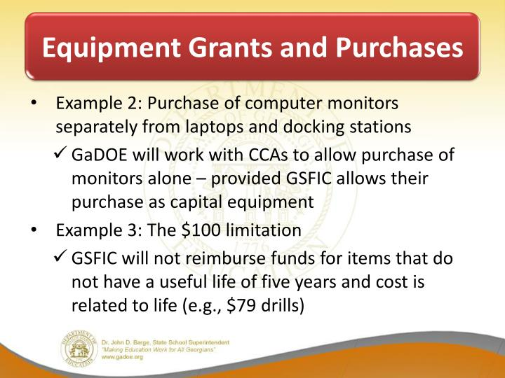 Equipment Grants and Purchases