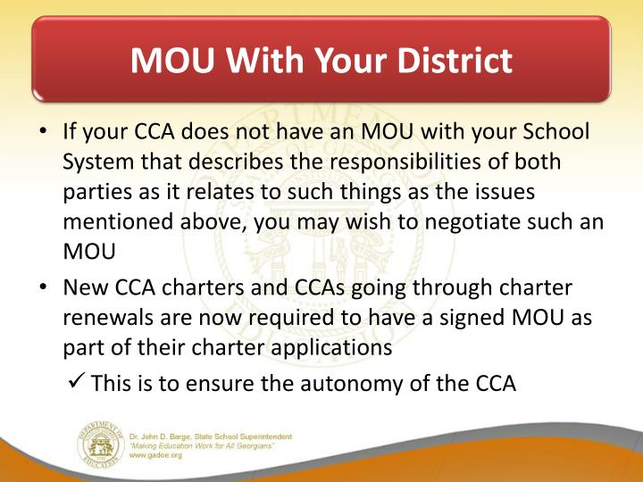 MOU With Your District