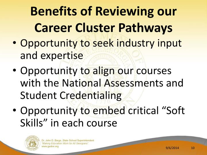 Benefits of Reviewing our Career Cluster Pathways