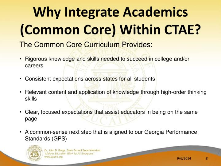 Why Integrate Academics (Common Core) Within CTAE?