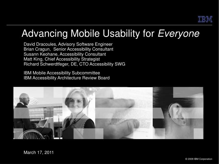 Advancing mobile usability for everyone