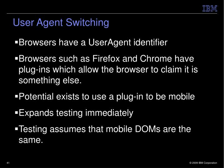 User Agent Switching