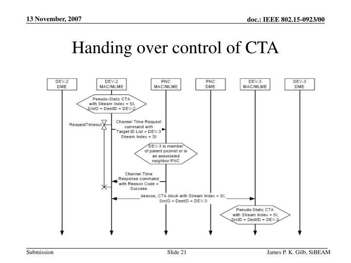 Handing over control of CTA