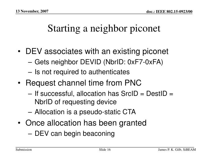 Starting a neighbor piconet