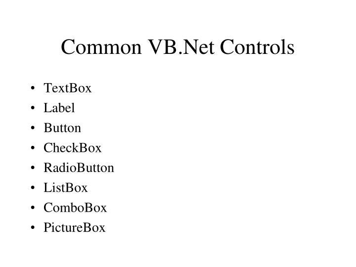 Common VB.Net Controls