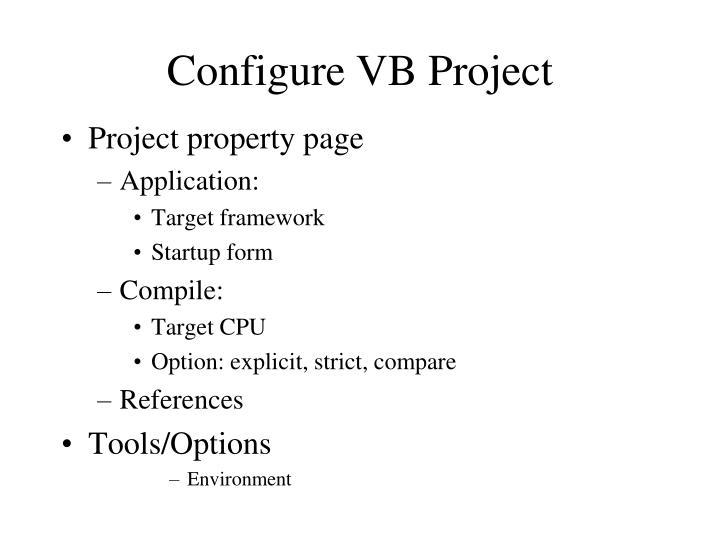Configure VB Project