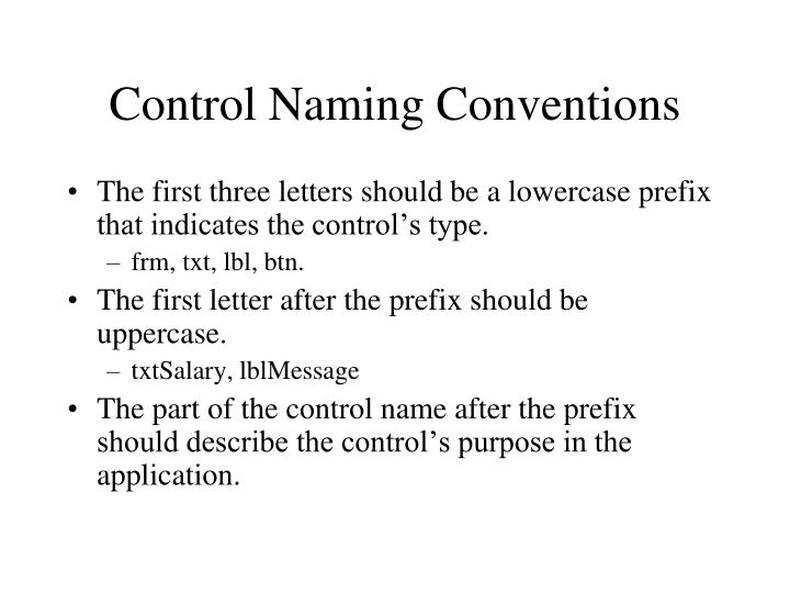 Control Naming Conventions
