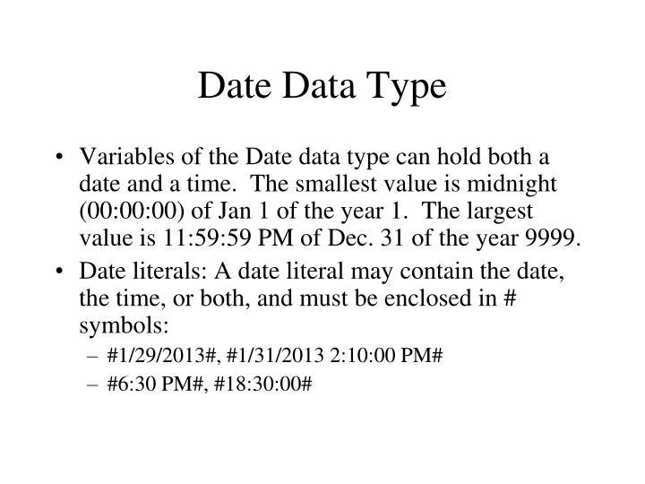 Date Data Type
