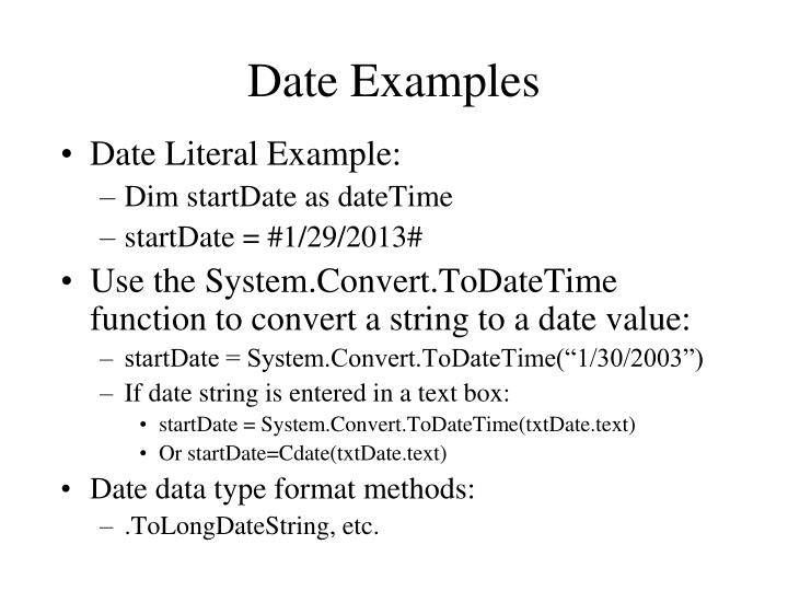 Date Examples