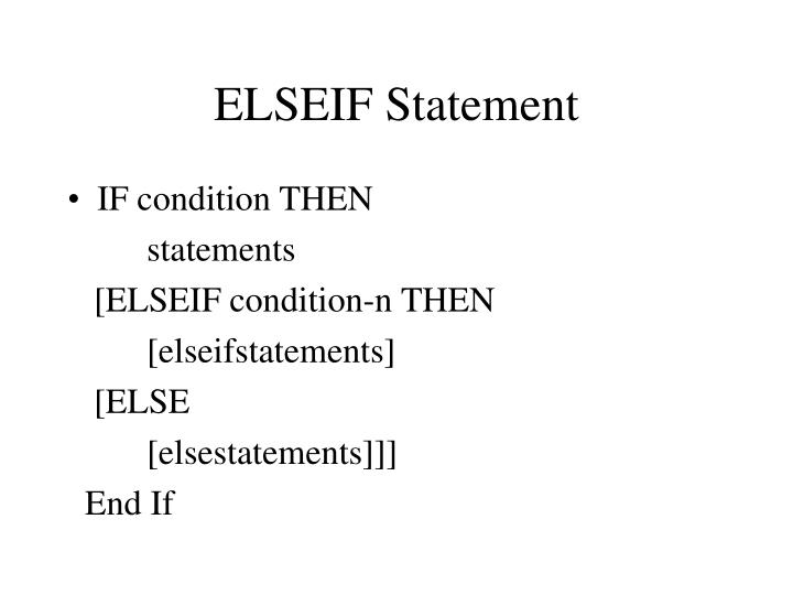ELSEIF Statement
