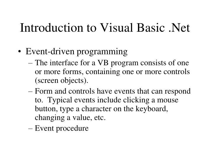 Introduction to Visual Basic .Net