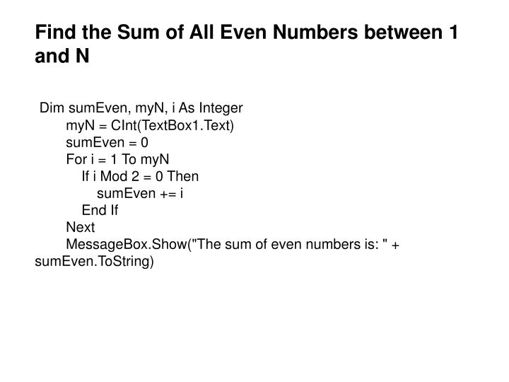 Find the Sum of All Even Numbers between 1 and N