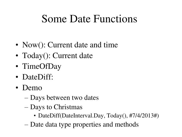 Some Date Functions