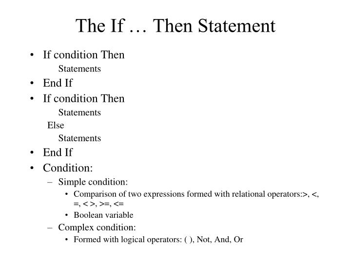 The If … Then Statement