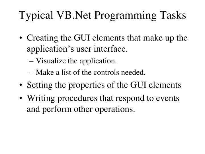 Typical VB.Net Programming Tasks