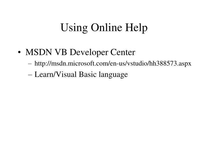Using Online Help