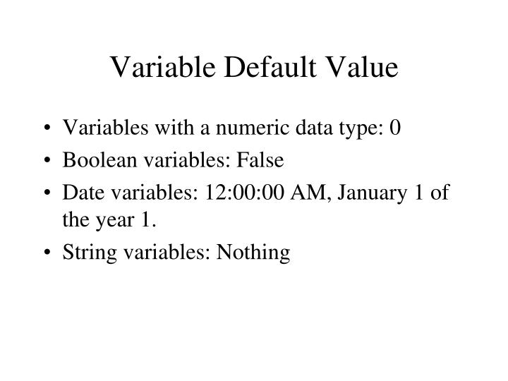 Variable Default Value