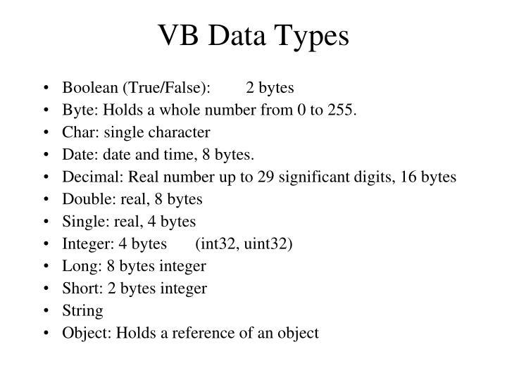 VB Data Types