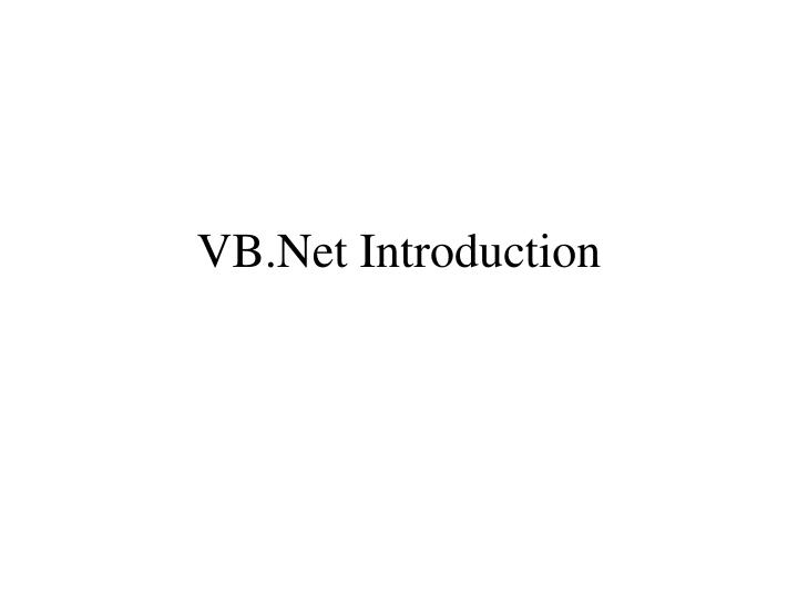 Vb net introduction