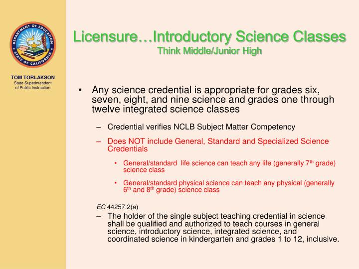 Licensure…Introductory Science Classes