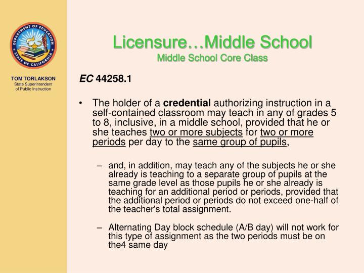 Licensure…Middle School