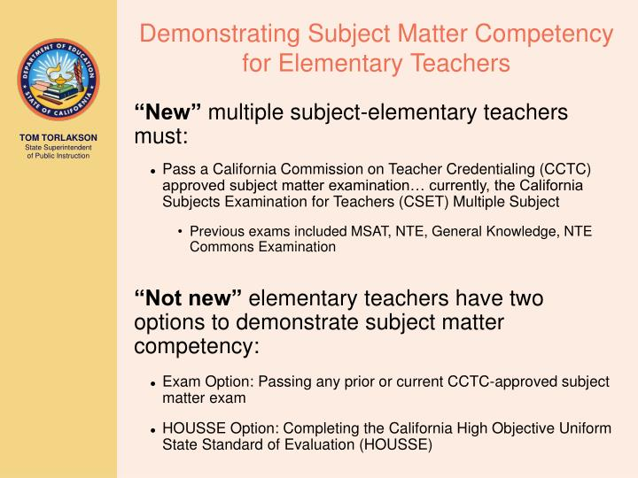 Demonstrating Subject Matter Competency for Elementary Teachers