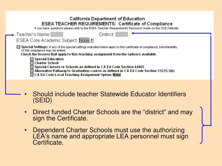 Should include teacher Statewide Educator Identifiers (SEID)